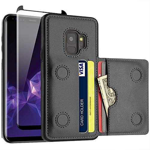 LakiBeibi Galaxy S9 Case with Card Holders, Dual Layer Lightweight Slim Leather Galaxy S9 Wallet Case Flip Folio Magnetic Lock with Screen Protector for Samsung Galaxy S9 5.8 Inch (2018), Black