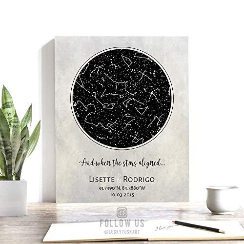 10 Year Anniversary, Custom Star Map, Gift of Tin, Constellation Art, Stars Aligned, Night Sky Print, Wedding Gift, Astrology Gift #1734