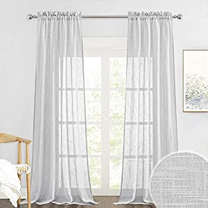 RYB HOME Privacy Sheer Curtains for Living Room, Linen Textured Semi Sheer for Bedroom Window Treatment Panels Light Glare Filtering, Dove Grey, Width 52 x Length 95 per Panel, 1 Pair