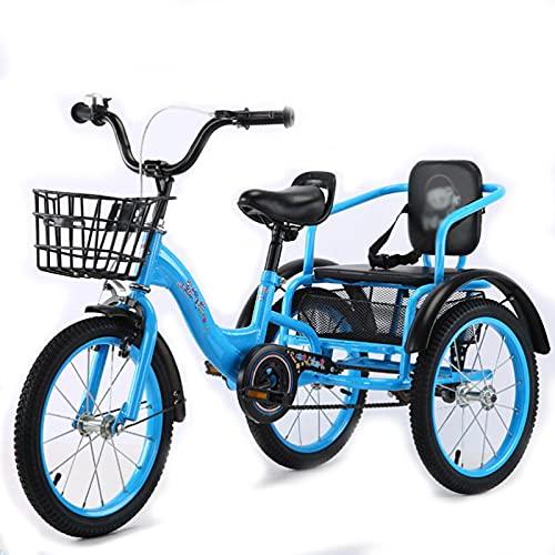 Tricicli per Adulti con Cestelli E Sedile Posteriore 16/18 Pollici 3 Ruote Moto A Tre Ruote per Crociera Trike per attività Ricreative Shopping Picnics Esercizio(Size:16inch,Color:Blu)