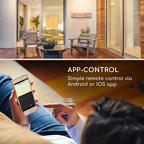 Blumfeldt Gold Fever Smart • Infrarot-Heizstrahler • Terrassenheizstrahler • 2000 W • 6 Wärmestufen • Infrarot-Wärme • Bluetooth • App-Control • bis 20 m² • inkl. Fernbedienung und Wandhalterung • weiß - 4