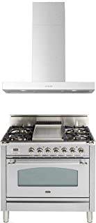 """Ilve 2 Piece Kitchen Appliances Package with UPN90FDVGGIX 36"""" Gas Range and Forte BELLINA36 36"""" Wall Mount Chimney Style Hood, in Stainless Steel - Made in Italy"""