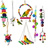 ESRISE 8 Pcs Bird ParrotToys, Hanging Bell Pet Bird Cage Hammock Swing Toy Wooden Perch Chewing Toy for Small Parrots,Conures, Love Birds, Small Parakeets Cockatiels, Macaws, Finches