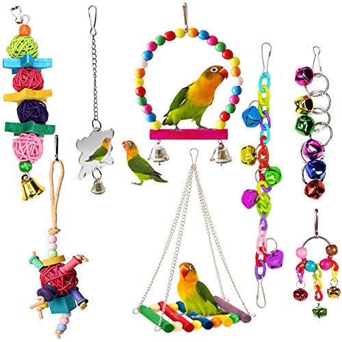 ESRISE 8 Pcs Bird ParrotToys, Hanging Bell Pet Bird Cage Hammock Swing Toy Wooden Perch Chewing...