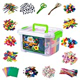 Jumbo Arts & Crafts Kit Box - 2,000+ Pieces Pompoms, Craft Sticks, Pipe Cleaners, Scissors, & More in Large Craft Box - Art Supplies Set for Adults & Kids Age 6,7,8,9,10,11,12 - Large Organizer Box