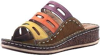 Jodimitty Badslippers voor dames en heren, slippers, slippers, uniseks, effen sandalen voor binnen en buiten, bruin, 35 EU