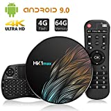 Android 9.0 4GB DDR3 + 64GB EMCC, TICTID Android TV Box HK1 MAX con Wireless Mini Tastiera, Quad-Core 64-Bit, Dual Wi-Fi 2,4G / 5G, 100M LAN, BT 4.0, 3D H.265 4K Android TV