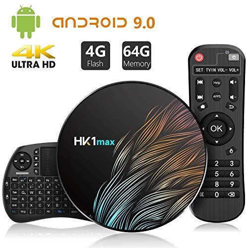 Android 9.0 4GB DDR3 + 64GB EMCC, TICTID Android TV Box HK1 MAX con Wireless Mini Tastiera, Quad-Core 64-Bit, Dual Wi-Fi 2,4G   5G, 100M LAN, BT 4.0, 3D H.265 4K Android TV