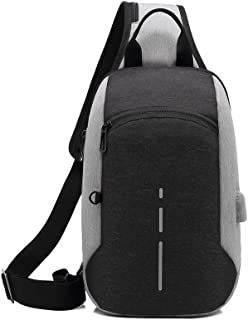 Multifunction Chest Pack Men Casual Shoulder Crossbody Bag USB Charging Chest Bag Water Repellent Messenger Bag (Color : Gray)