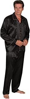 Alexander Del Rossa Mens Satin Pajamas, Long Button-Down...