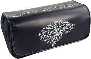 Large Capacity Double Zipper House Stark Wild Direwolf Pencil Case Pen Bag Box Pouch Holder School & Office Supplies Black