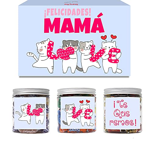 SMARTY BOX Caja Regalo Chuches Día de la Madre Original Caramelos y Gominolas para la Mejor Mamá del Mundo con Frases, Cumpleaños, Santo Golosinas, Chucherías, Dulces sin Gluten, Fabricado en España