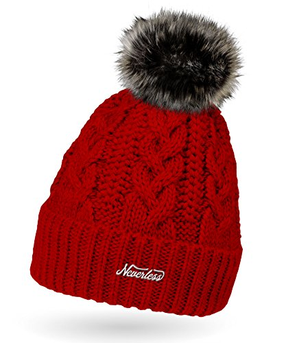 Neverless Damen Strick-Mütze gefüttert mit Fell-Bommel, Kunstfell, Winter-Mütze, Bommelmütze, rot Unisize