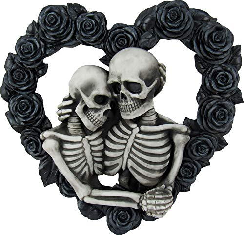 DWK - Our Love is Eternal - Beautiful Gothic Skeleton Lovers Embracing on Black Rose Wreath Wall Sculpture Romantic Goth Valentine's Day Gift Home Decor Accent Door1 - 13'