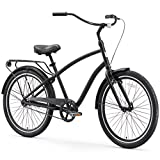 sixthreezero EVRYjourney Men's Single Speed Hybrid Cruiser Bicycle, Matte Black w/Black Seat/Grips, 26' Wheels/19 Frame
