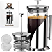 French Press Coffee Maker - 4 Level Filtration System - 304 Grade Stainless Steel - Heat Resistant Borosilicate Glass by Cafe du Chateau (34 Ounce) (Renewed)