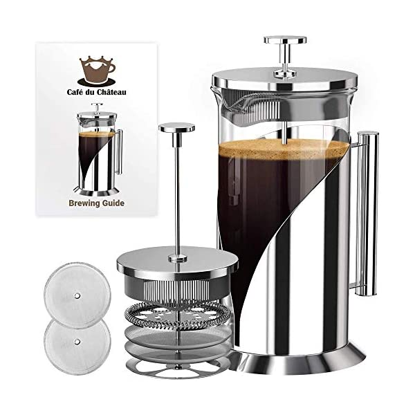French Press Coffee Maker – 4 Level Filtration System – 304 Grade Stainless Steel – Heat Resistant Borosilicate Glass by Cafe du Chateau (34 Ounce) (Renewed)