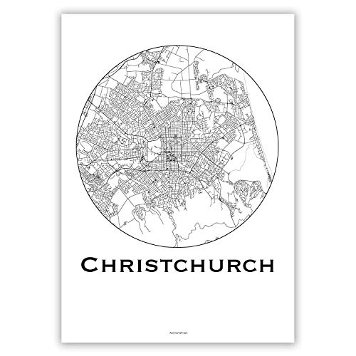 Plakat Christchurch Neuseeland Minimalist Map - Poster, City Map, Dekoration, Geschenk