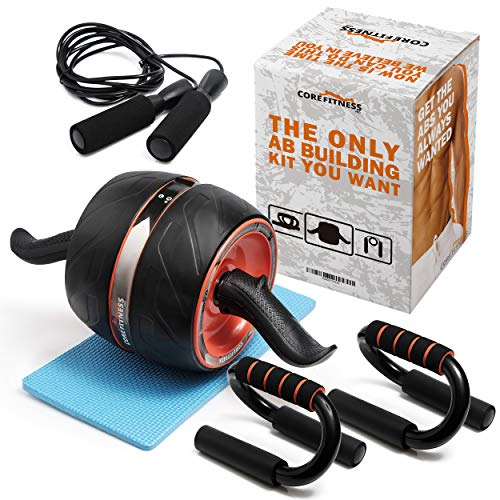 Core Fitness Pro | Ab Roller Wheel Set Ab Carver Pro | The Perfect Ab Fitness Work Out Equipment for Abdominal Exercise | 4 in 1 Abs Trainer Kit Push Up Bars, Jump Rope, and Knee Pad