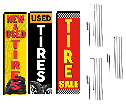 New and Used Tires Shop Outlet Advertising Package of 3 Rectangle Feather Banner Flag Kits and Ground Stakes, New Tires, Used Tires, Sale