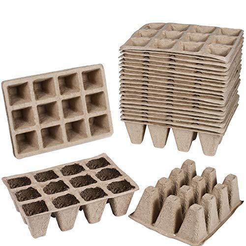 Funmo 25pcs Maceta Biodegradable, Plantas de Fibra Macetas para Flores Planta pote, Maceteros ecológico para Jardín Plántulas y Trasplantes, 100% Biodegradable (Bandeja de plántulas: 16 x12 x 5 cm)
