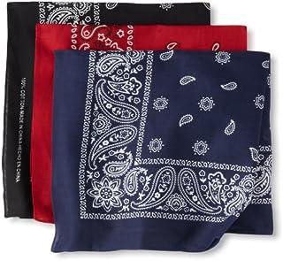 Levi's Men's 100% Cotton Multi-purpose Bandana Gift Sets – Headband, Wrap, Protective Coverage, Black/Red/Navy, Pack 3