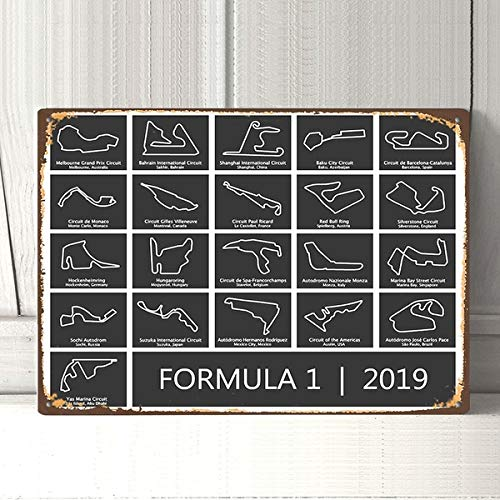 Retro Rustic 8x12 Formula 1 Race Track F1 Racing Circuit Vintage Retro Metal Tin Sign Metal Sign Pin Up Metal Decor Metal Art Wall Sign Wall Poster Wall Decor Home Decor