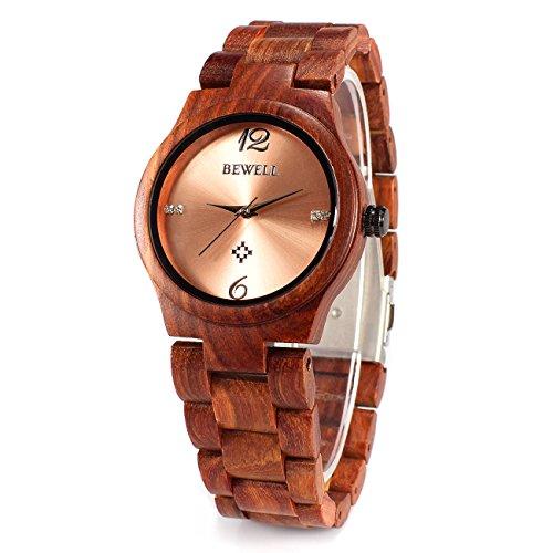 BEWELL153A Reloj de Pulsera analógico de Cuarzo Correo Lisa Hecho de Madera de sándalo con Apariencia Simple A la modera para Mujer (Rojo)