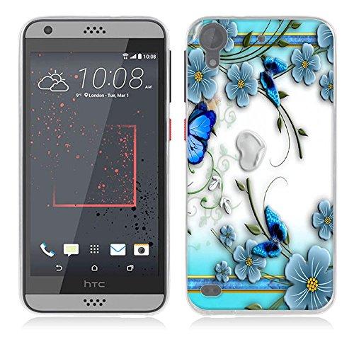 FUBAODA für HTC Desire 530 Hülle [Kleine lila Schmetterlingsblume] Kratzfeste Plating TPU Case für HTC Desire 530 Case Schutzhülle Silikon Crystal Case Durchsichtig für HTC Desire 530