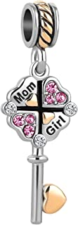 Q&Locket Mom Girl Key to My Heart Charms Lucky Clover Charm Beads for Bracelets