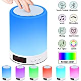 Bluetooth Speaker Lamp, Touch Sensor Night Light Bedside Table Lamp with Alarm Clock