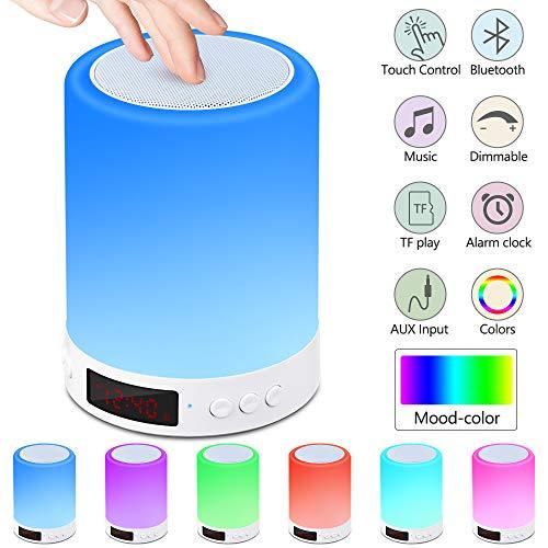 Lámpara de Mesita de Noche Lámpara de Altavoz Bluetooth con Sensor táctil y luz de Noche con Radio Despertador, luz Cálida Regulable y Linterna de Camping Portátil con 7 Colores Cambiantes, Regalos