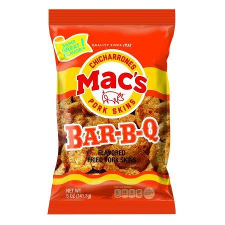 Mac's Chicharrones -Bar-B-Q Pork Rinds - price 3oz Six excellence Bags