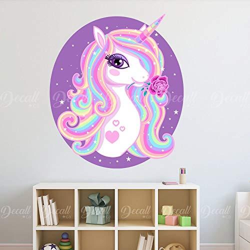 Precioso arco iris unicornio con rosa en marco ovalado adhesivo de pared para habitación de los niños, adhesivo reutilizable