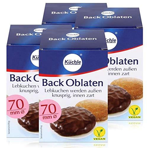 Küchle runde Back Oblaten 70mm Ø 71g - Lebkuchen bleiben innen zart (4er Pack)