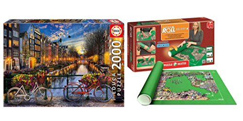 Outletdelocio Pack Puzzle Educa 17127. Amsterdam. 2000 Piezas + Tapete Universal Puzzle Roll 4809/64239