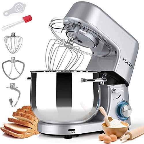 Kuccu Stand Mixer, 8.5 Qt 660W, 6-Speed Tilt-Head Food Dough Mixer, Electric Kitchen Mixer with Dough Hook, Flat Beater & Wire Whisk, Mixing Bowl (8.5-QT, Silver) (Renewed)