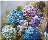 LSDEERE Pintura por números para Adultos, Pintura al óleo DIY, Colorida Hortensia, Paisaje, Lienzo Digital, Mural de Pared, decoración de Oficina en casa, Regalo