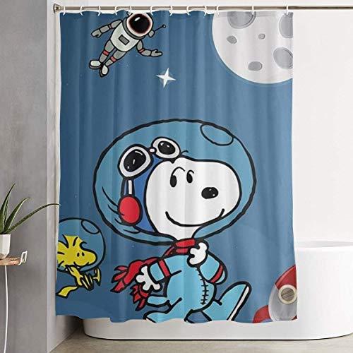 liangchunmei Stilvoller Duschvorhang Snoopy & Woodstock im Weltraumdruck Wasserdichter Badezimmervorhang 60 x 72 Zoll