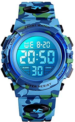 Reloj Digital para niños y niñas, 50 m, Resistente al Agua, cronómetro, Reloj de Pulsera de Clase Superior