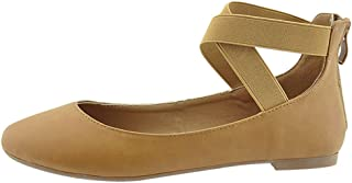 bd9eb43684534f Bella Marie Women s Cross Over Ankle Strappy Closed Round Toe Ballet Flat