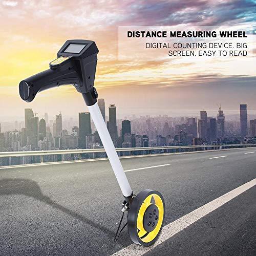 Meetwiel afstand, inklapbaar, hoge nauwkeurigheid, mechanische wiel-meetwiel met digitaal display, geel, 160 mm