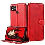 LeYi Hülle für Xiaomi Redmi 9C / 9C NFC Mit HD Folie Schutzfolie,Leder Handyhülle Stoßfest Wallet Etui Magnet Schutzhülle Tasche Slim Silikon Soft Cover Bumper TPU Hülle für Handy Redmi 9C Matt Rot