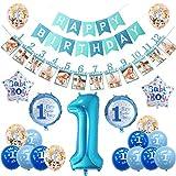sancuanyi 1an Anniversaire Décorations Fille/Garçon Happy Birthday Banderole Fournitures de Anniversaire 1an Garçon Décoration (Bleu)
