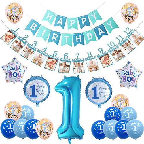 sancuanyi 1er Cumpleaños Bebe Globos Decoracion, Cumpleaños 1 Año Bebe Niño, Globos Numeros 1 Decoracion, Azul Decoración de cumpleaños para niños de 1 año