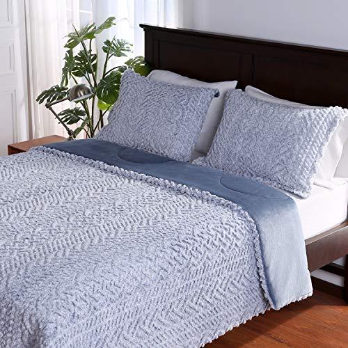 Berkshire Blanket Fluffy Sherpa Cable Knit & Loftmink Reversible Ultra Cozy Warm Luxury Comforter Set, Citadel, Twin (60' x 90')