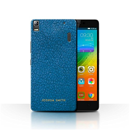 Stuff4 Personalised Phone Case for Lenovo A7000 Custom Leather Effect Aqua Blue Stamp Transparent Clear Ultra Slim Thin Hard Back Cover