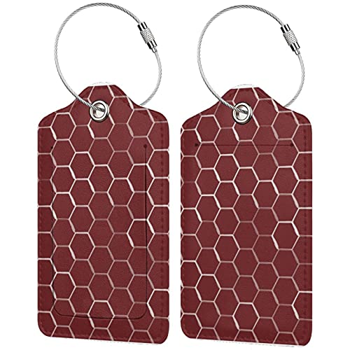 2 etiquetas para equipaje, etiquetas de piel sintética para equipaje con cierre de acero inoxidable para bolsa de viaje, maleta, colmena de panal hexagonal en burdeos