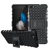 ykooe Huawei P8 Lite hülle, (Rüstungs Series) Huawei P8 Lite Hülle Dual Layer Hybrid Handyhülle Stoßfest Handys Schutz Hülle mit Ständer Schutzhülle für Huawei P8 Lite Schwarz (5,0 Zoll)