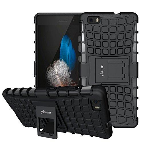 ykooe Cover Huawei P8 Lite, Silicone Custodia Huawei P8 Lite 2015 Doppio Strato a Ibrida Phone Caso con Supporto per Huawei P8 Lite Smartphone